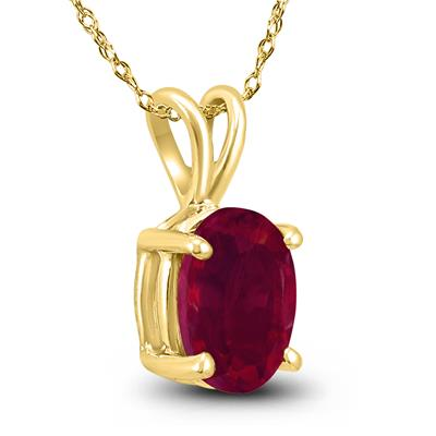 14K Yellow Gold 6x4MM Oval Ruby Pendant