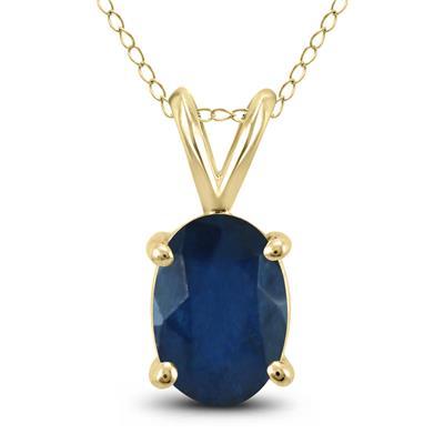 14K Yellow Gold 6x4MM Oval Sapphire Pendant