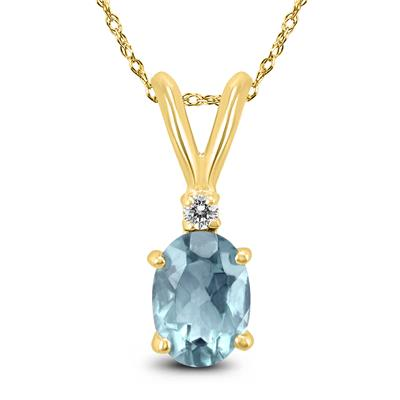 14K Yellow Gold 5x3MM Oval Aquamarine and Diamond Pendant
