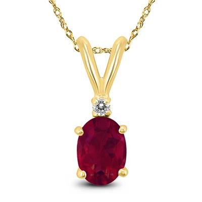 14K Yellow Gold 5x3MM Oval Ruby and Diamond Pendant