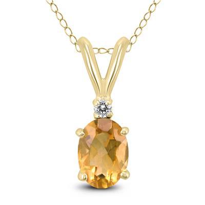 14K Yellow Gold 6x4MM Oval Citrine and Diamond Pendant