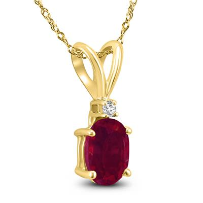 14K Yellow Gold 6x4MM Oval Ruby and Diamond Pendant