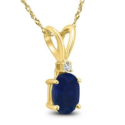 14K Yellow Gold 6x4MM Oval Sapphire and Diamond Pendant