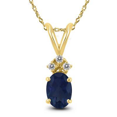 14K Yellow Gold 5x3MM Oval Sapphire and Diamond Pendant