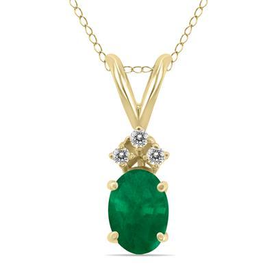 14K Yellow Gold 6x4MM Oval Emerald and Diamond Pendant