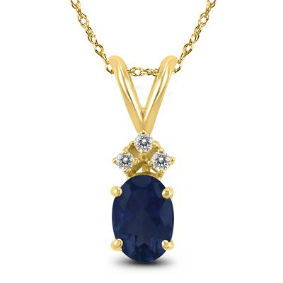 14K Yellow Gold 6x4MM Oval Sapphire and Diamond Pendant