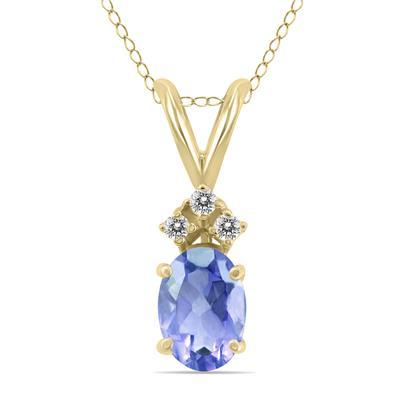 14K Yellow Gold 6x4MM Oval Tanzanite and Diamond Pendant