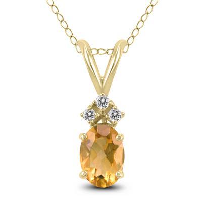 14K Yellow Gold 7x5MM Oval Citrine and Diamond Pendant