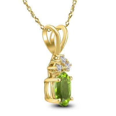 14K Yellow Gold 8x6MM Oval Peridot and Diamond Pendant