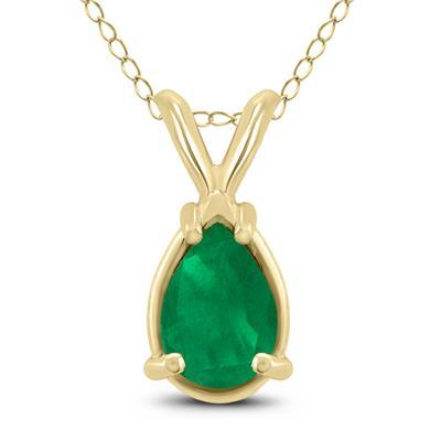 14K Yellow Gold 6x4MM Pear Emerald Pendant