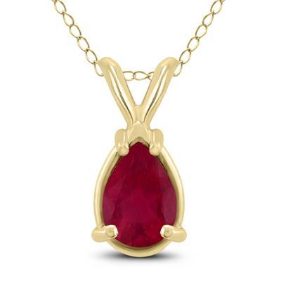 14K Yellow Gold 6x4MM Pear Ruby Pendant