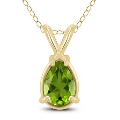 14K Yellow Gold 7x5MM Pear Peridot Pendant
