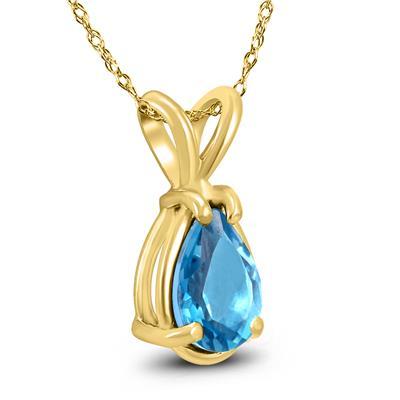 14K Yellow Gold 8x6MM Pear Blue Topaz Pendant