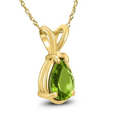 14K Yellow Gold 8x6MM Pear Peridot Pendant