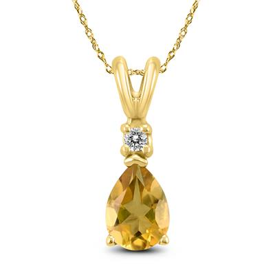14K Yellow Gold 6x4MM Pear Citrine and Diamond Pendant