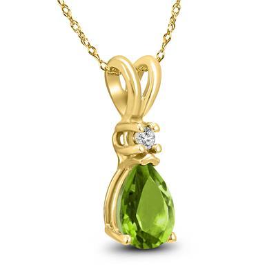 14K Yellow Gold 6x4MM Pear Peridot and Diamond Pendant
