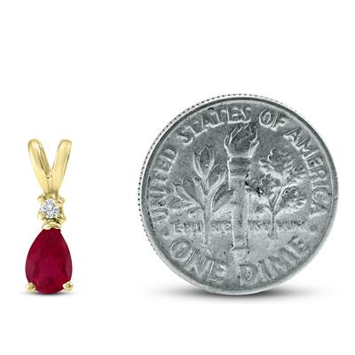 14K Yellow Gold 6x4MM Pear Ruby and Diamond Pendant