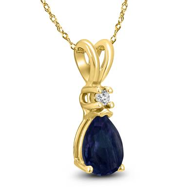 14K Yellow Gold 6x4MM Pear Sapphire and Diamond Pendant