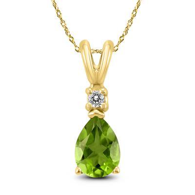 14K Yellow Gold 7x5MM Pear Peridot and Diamond Pendant
