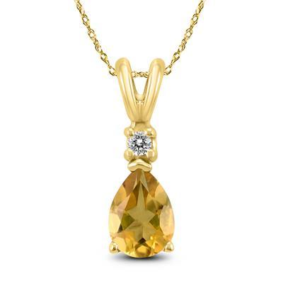 14K Yellow Gold 8x6MM Pear Citrine and Diamond Pendant