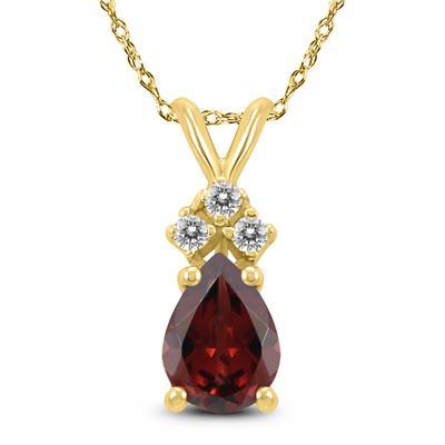 14K Yellow Gold 7x5MM Pear Garnet and Diamond Pendant