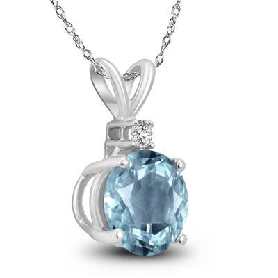 14K White Gold 4MM Round Aquamarine and Diamond Pendant