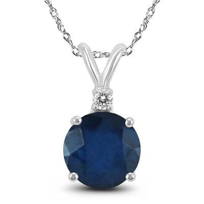 14K White Gold 4MM Round Sapphire and Diamond Pendant