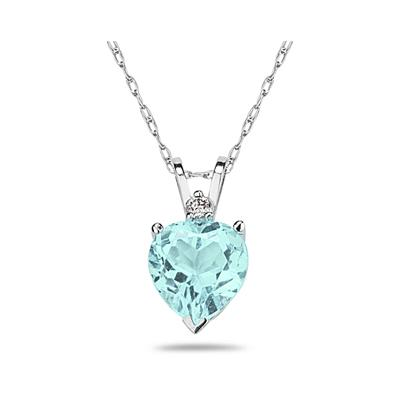 7mm Heart Aquamarine and Diamond Stud Pendant in 14K White Gold