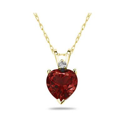 5mm Heart Garnet and Diamond Stud Pendant in 14K Yellow Gold