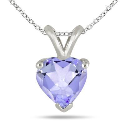 All-Natural Genuine 5 mm, Heart Shape Tanzanite pendant set in 14k White Gold