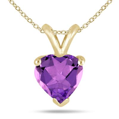 All-Natural Genuine 7 mm, Heart Shape Amethyst pendant set in 14k Yellow gold