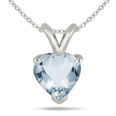 All-Natural Genuine 7 mm, Heart Shape Aquamarine pendant set in 14k White Gold
