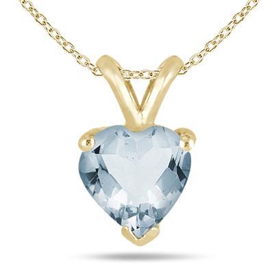 All-Natural Genuine 7 mm, Heart Shape Aquamarine pendant set in 14k Yellow gold