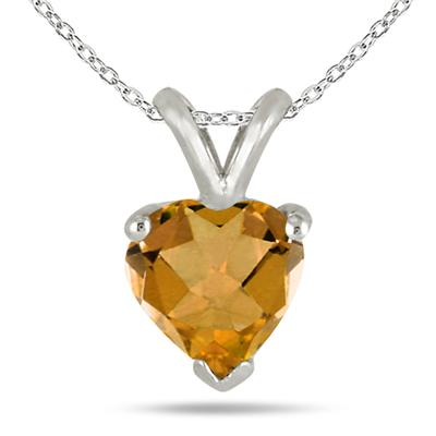 All-Natural Genuine 7 mm, Heart Shape Citrine pendant set in 14k White Gold