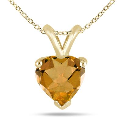 All-Natural Genuine 7 mm, Heart Shape Citrine pendant set in 14k Yellow gold