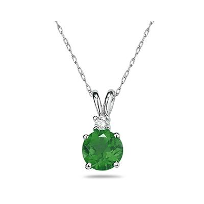 5mm Round Emerald and Diamond Stud Pendant in 14K White Gold