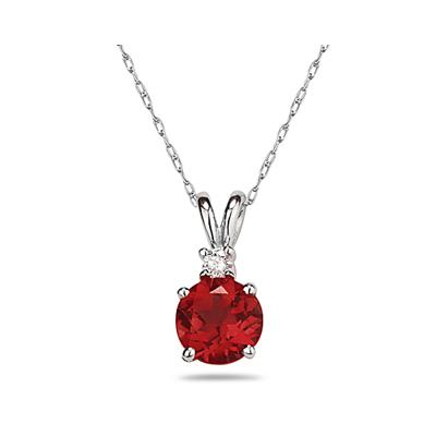 6mm Round Ruby and Diamond Stud Pendant in 14K White Gold