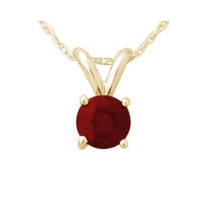 All-Natural Genuine 6 mm, Round Ruby pendant set in 14k Yellow gold