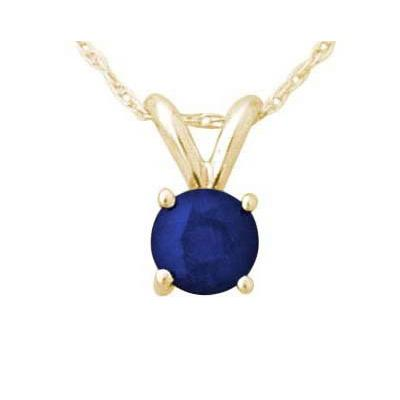 All-Natural Genuine 6 mm, Round Sapphire pendant set in 14k Yellow gold