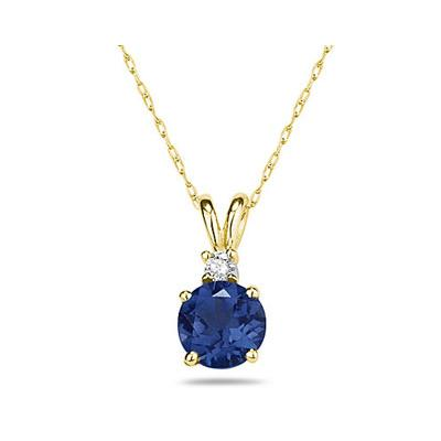 5mm Round Sapphire and Diamond Stud Pendant in 14K Yellow Gold