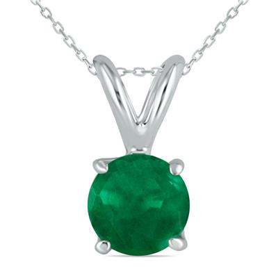 All-Natural Genuine 4 mm, Round Emerald pendant set in 14k White Gold