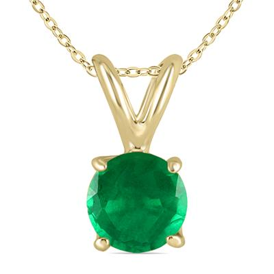 4mm Round Emerald Pendant in 14k Yellow Gold