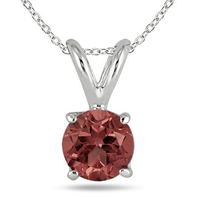 4MM All Natural Round Garnet Stud Pendant in .925 Sterling Silver