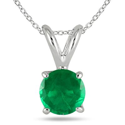 5MM All Natural Round Emerald Stud Pendant in .925 Sterling Silver