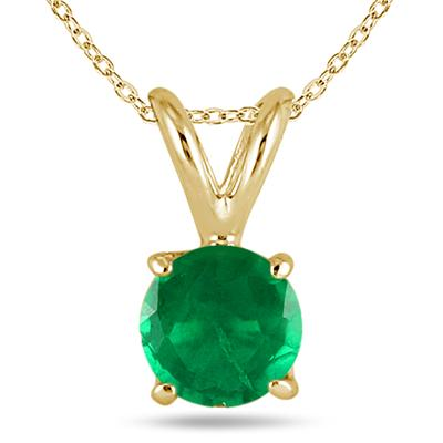 All-Natural Genuine 5 mm, Round Emerald pendant set in 14k Yellow gold