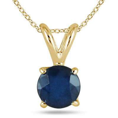 All-Natural Genuine 5 mm, Round Sapphire pendant set in 14k Yellow gold