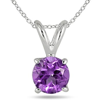 All-Natural Genuine 7 mm, Round Amethyst pendant set in 14k White Gold