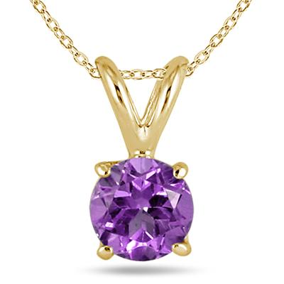 All-Natural Genuine 7 mm, Round Amethyst pendant set in 14k Yellow gold
