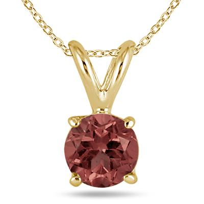 All-Natural Genuine 7 mm, Round Garnet pendant set in 14k Yellow gold