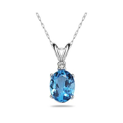 9X7mm Oval Blue Topaz and Diamond Stud Pendant in 14K White Gold